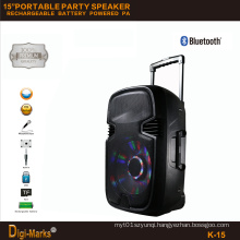 15′′ Mobile Party DJ Outdoor Karaoke Trolley Bluetooth Active Speaker