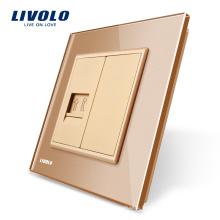 Panneau de verre Livolo Gold Crystal, prise téléphone unique, VL-C791T-13