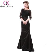 Grace Karin Ladies Elegant robes longues Robe de soirée musulmane en dentelle rouge et noire à manches longues CL4524-1