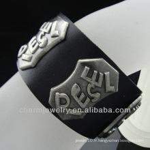 """Bracelet à manchette à bracelet en cuir véritable pour hommes unisex Les femmes s'adaptent à 7,5 """"à 8,5"""" BGL-002"""