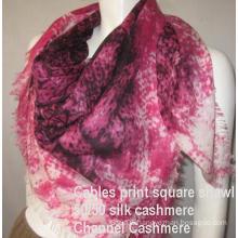 Cashmere Silk Shawl Cable Print