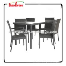 7pcs outdoor rattan dinning set furniture, dining table set 6 chairs, restaurant dining set