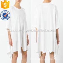 Oversized Loose White Short Sleeve Asymmetric Cotton Summer Dress Manufacture Wholesale Fashion Women Apparel (TA0009D)