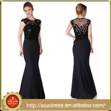 ABI-05 Sheer O-neck Floor Length Long Mother Dress with Sequins Appliques Cap Sleeves Mother of the Bride Dresses