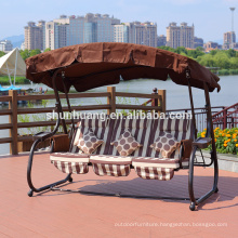 Most popular 3 person metal patio swing bed stripe with roof garden furniture