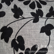 Tecido de sofá imitado de linho de poliéster flocante