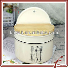 Керамические кухонные банки для хранения с деревянной крышкой