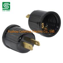 E26 Base Outlet to Plug-in Lamp Holder Black