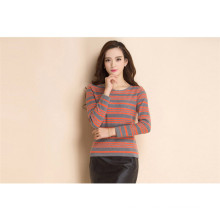 Mulheres manga comprida padrão de listras cachemira malha intarsia sweater