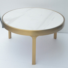 modern round stainless steel coffee table