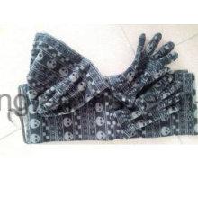 Nuevo estilo señora tejiendo invierno cálido impreso polares fleece conjunto