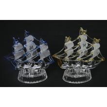 Navigação de cristal de cristal da estatueta do barco de navigação do modelo de cristal do barco