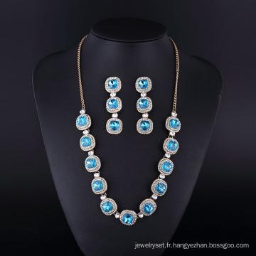 Argent Plaqué Mode Saphir Diamant Neckalce pour Womwn