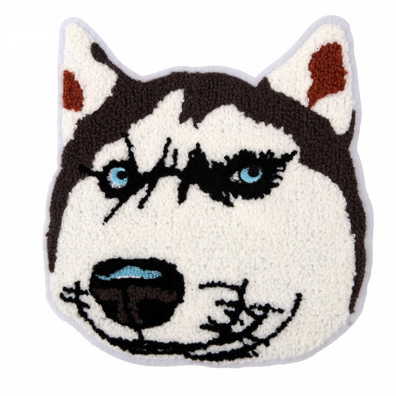 Cartoon Husky Dogs Towel Embroidery