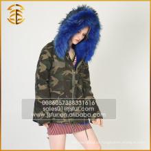 Exército Verde Melhor qualidade Genuine Raccoon Jacket Long Fur Parka