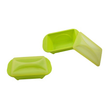 green Rectangle silicone lunchbox with cover