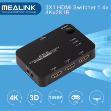 4k 3X1 3 Port HDMI Switcher with IR Remote Control