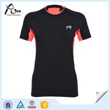 T-shirt sec de femmes de double collier de coupe mince