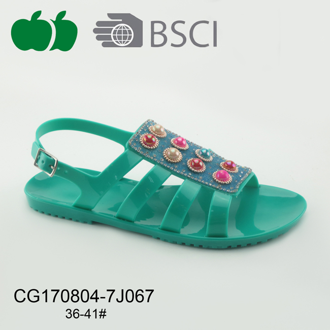 Fashion New Design Ladies Flat Pvc Sandals