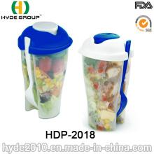 Copo plástico reutilizável do abanador da salada com forquilha (HDP-2018)