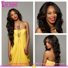 Instock! 5a #1B body wave Virgin Indian Remy full lace Wig With Baby Hair