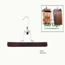 Black Wooden Extension Hair Hangers Wooden Pants Skirt Clamps