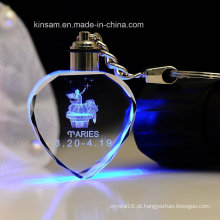 Presente da Corrente Chave do Cristal da forma do Coração da Forma do diodo emissor de luz