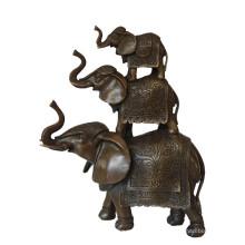 Tier Messing Statue Elefant Familie Dekoration Bronze Skulptur Tpy-069