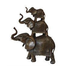 Animal Brass Statue Elephant Family Decoration Bronze Sculpture Tpy-069