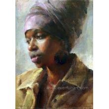 Heiße Verkaufs-Segeltuch-Kunst-handgemachte Frauen-afrikanische Anstrich (EIF-131)