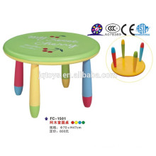 Durable and colored children plastic table with colorful chair