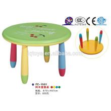 Прочный и цветной детский пластмассовый стол с красочным стулом