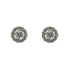 Модные круглые серьги-гвоздики с кристаллами