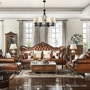 Baroque Lounge Carved Genuine Leather Sofa Set