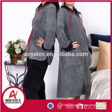 Long sleeve melange grey coral fleece zipper bathrobe