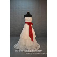 EN STOCK Vestido de novia del cordón del vestido de bola del Apagado-El-Hombro Vestido nupcial de la falda Flared SW08