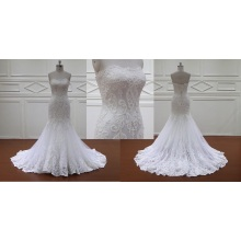 French Lace Mermaid Strapless Bridal Gown Wedding Dress