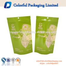 zip lock kraft paper bag tea pouches with tear notch