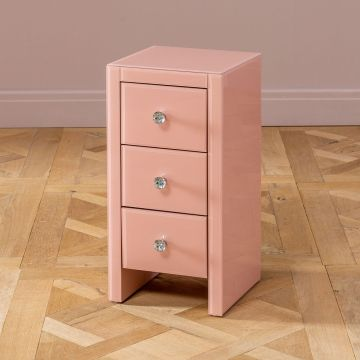 Pink Glass 3 Schubladen Slim Narrow Bedside