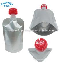 Bolsa de bico dobrável / sacos de embalagem de água / stand up pouch com bico e pull-puch top