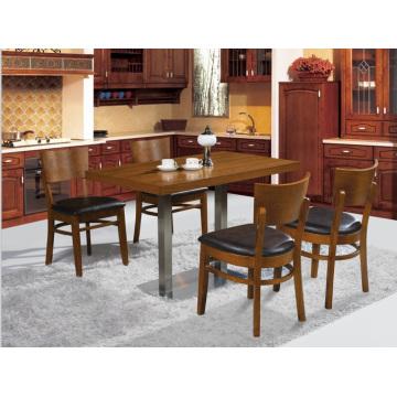 Juego de mesa y silla de restaurante de madera maciza clásica para 4 personas (FOH-BCA09)