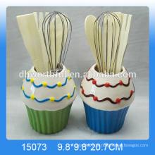 Fabrik Direktverkauf Keramik Utensilien Halter Set mit Eiscreme Form