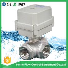 Válvula de esfera motorizada elétrica Cwx-15n do aço inoxidável de 3 maneiras Ss304