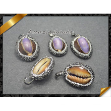 Natural Conch / Sea Snail Pendant, Crystal Rhinestone Paved Beads Pendant Jewelry Making (EF0102)