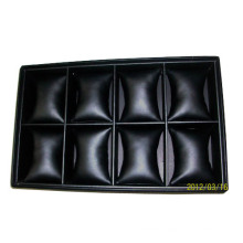 Luxury Stacking Faux Black Leather Watch Baracelet Tray Organizer