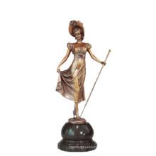 Weibliche Kunstsammlung Bronze Skulptur Zepter Lady Decor Messing Statue TPE-691