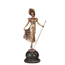 Female Art Collection Bronze Sculpture Scepter Lady Decor Brass Statue TPE-691