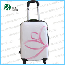 Set de equipaje con trolley de panel de flor rosa
