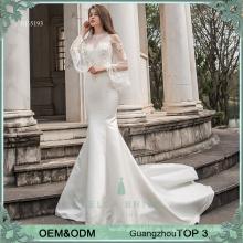 Glockenhülse Satin Brautkleider Kleider pakistanische Brautkleider Meerjungfrau Braut wechselnde Kleider mit einem abnehmbaren Watteau Zug