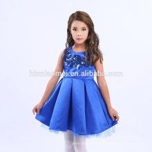2017 marke Heiße Farbe Rot Blau Mädchen Prinzessin Kleid Sommer Stil 8 Jahre Mädchen Kleid Design